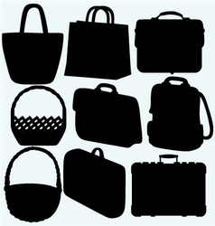 Different types of bags and baskets vector