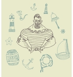 Portrait of bearded and tattooed sailor set vector