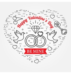 Be mine happy valentines day greetings card labels vector