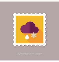 Cloud snow rain flat stamp meteorology weather vector