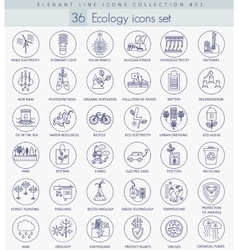 Ecology outline icon set elegant thin line vector