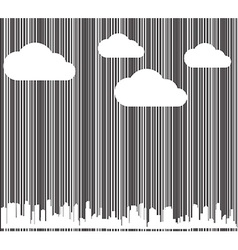 Background with a barcode with white clouds and vector
