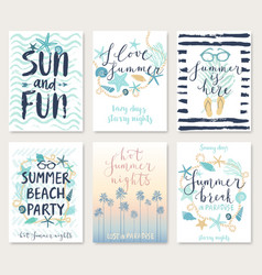 Summer hand drawn calligraphyc card set vector