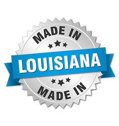 Made in louisiana silver badge with blue ribbon vector