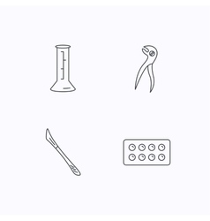 Lab beaker tablets and dental pliers icons vector