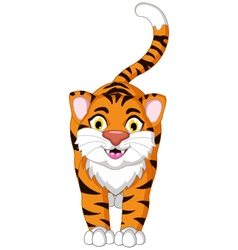 Cute tiger cartoon posing vector