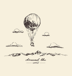 Air balloon mountains adventures sketch vector