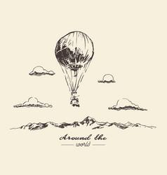 air balloon mountains adventures sketch vector image vector image
