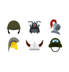 Army helmet icon set flat style vector
