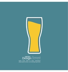 Beer glass with yellow liquid vector image vector image