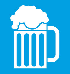 Beer mug icon white vector