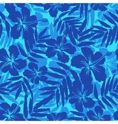 Blue tropical flowers silhouettes seamless pattern vector image