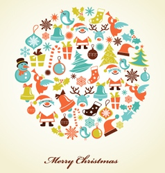 Christmas background with icons vector