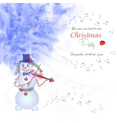 Christmas invitation with snowman vector