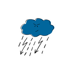 Cloud with lightning and rain cartoon vector