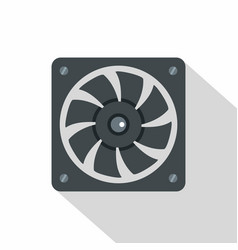 Computer power supply fan icon flat style vector