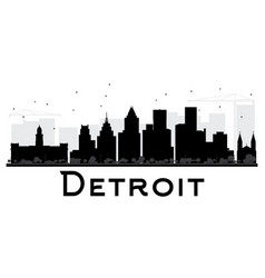 detroit city skyline black and white silhouette vector image