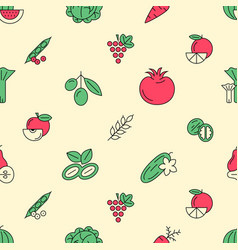 Digital green red vegetable icons vector