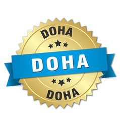 Doha round golden badge with blue ribbon vector