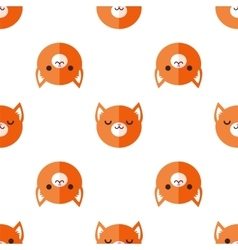 Flat cartoon fox heads seamless pattern vector