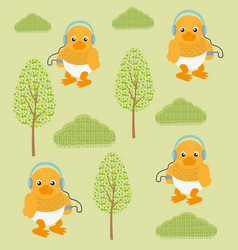 Funny ducks in forest vector