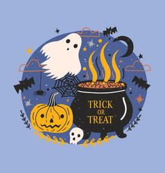halloween banner with funny spooky ghost pumpkin vector image vector image