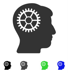 Intellect cog flat icon vector
