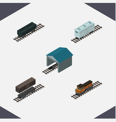 Isometric transport set of train carbon railway vector