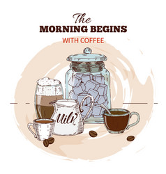 Morning coffee hand drawn round design vector