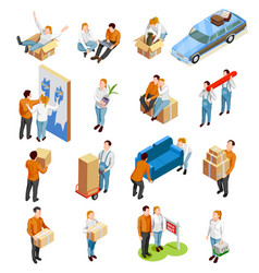 moving people isometric set vector image vector image