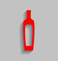 Olive oil bottle sign red icon with soft vector
