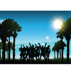 party in tropical landscape 1706 vector image vector image