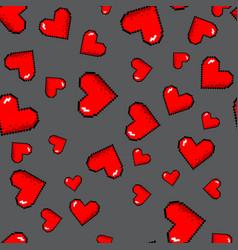 pixel hearts pattern vector image vector image