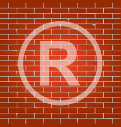 Registered trademark sign whitish icon on vector