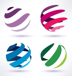 set of 3d abstract globe icons vector image vector image