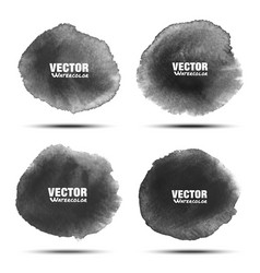 set of dark gray black watercolor circle stains vector image