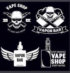 Set of vape e-cigarette emblems labels prints and vector