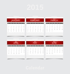 Simple 2015 year calendar January February March vector image
