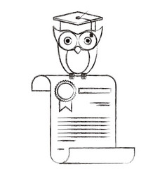 Sketch blurred silhouette of owl knowledge in vector