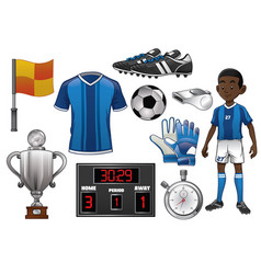 soccer object set vector image vector image
