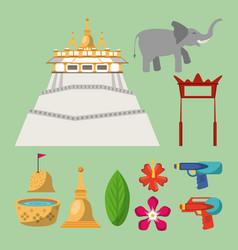 Songkran festival icons vector