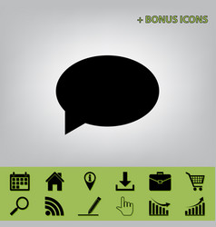 Speech bubble icon black icon at gray vector