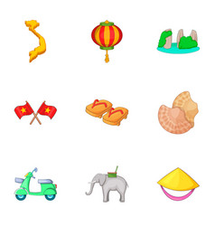 Trip around vietnam icons set cartoon style vector