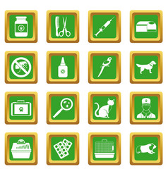 veterinary icons set green vector image vector image