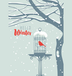 winter banner with bird in cage under snowy tree vector image vector image
