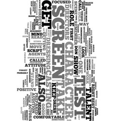 Your first screen test text word cloud concept vector