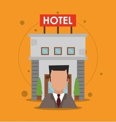 Building receptionist hotel service icon vector