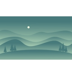 Hill scenery vetcor flat of silhouette vector