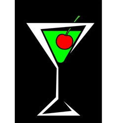 cocktail and cherries vector image