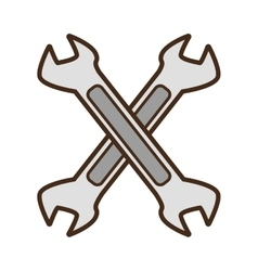 Cartoon steel spanner tool repair vector